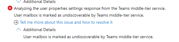 User mailbox is marked as undiscoverable by Teams middle-tier service